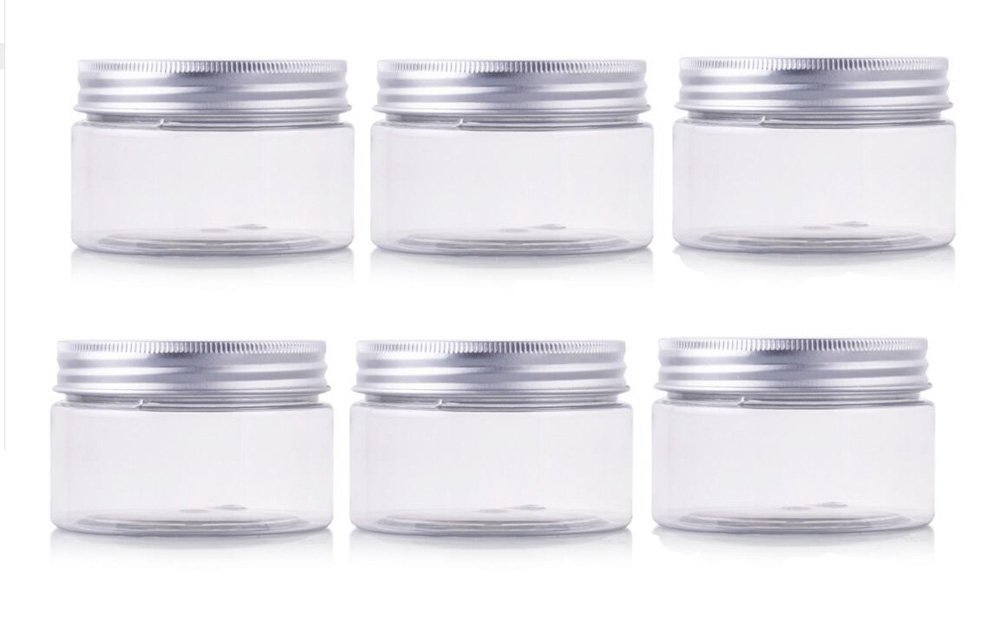 50g/100g/150g PET Plastic Empty Cosmetic Containers Cases with Silver Aluminum Caps Cream Lotion Box Ointments Bottle Makeup Pot Jars Pack of 6 (150G) erioctry