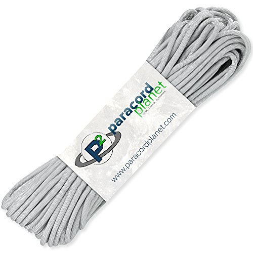 (Paracord Planet 100' Hanks Parachute 550 Cord Type III 7 Strand Paracord Top 40 Most Popular Colors (Silver Gray))