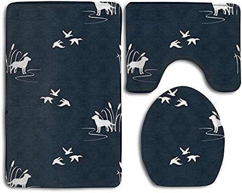 LOOMPPQ Bath Mat,Dog Ducks Hunting Scene Bathroom Carpet Rug,Non-Slip 3 Piece Bathroom Mat Set