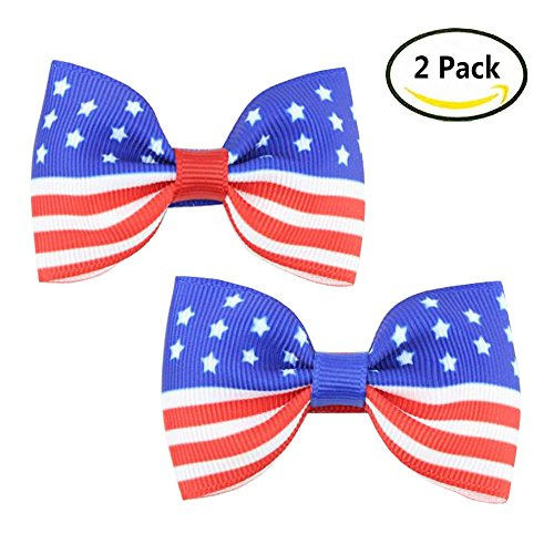 Hair Clips Accessories for Baby Girls Toddler Grosgrain Ribbon Bows Clip 2 Pack TS07 (Two Bow Pack Grosgrain)