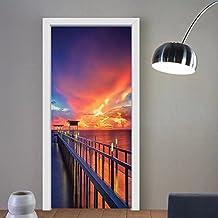 Gzhihine custom made 3d door stickers House Decor Wooden Bridge In The Port At Sunrise Horizon Candle Light Romantic Decor Image Print Decor Orange Navy For Room Decor 30x79
