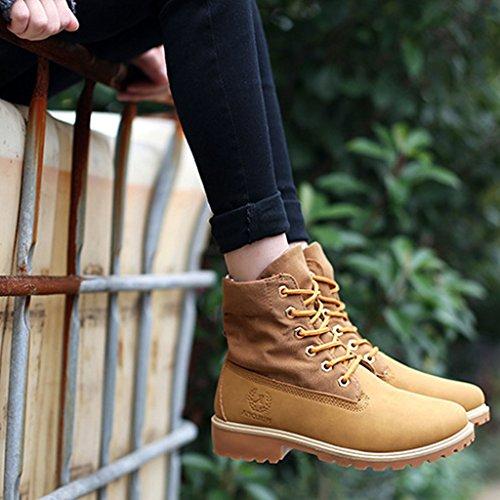 Minetom Damen Winter Stiefel Mode Kurzschaft Stiefel Worker Boots Zipper Mit Blockabsatz Schnürhalbschuhe Gelb
