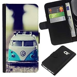 NEECELL GIFT forCITY // Billetera de cuero Caso Cubierta de protección Carcasa / Leather Wallet Case for Samsung Galaxy S6 EDGE // VW Hippy Van