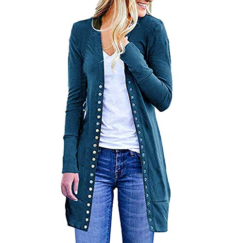 Long Blue Down Loose Button Womens Tops Cardigan DOLDOA Sleeve Open Fashion Casual Front Drape Sweater Plus Zfv1xnwTq