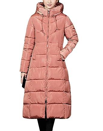 Mujer Abrigo Invierno Acolchado de Cremallera Elegante Largo Caliente Chaqueta de Plumas con Capucha de Manga Larga Parka Frijol XXL: Amazon.es: Ropa y ...