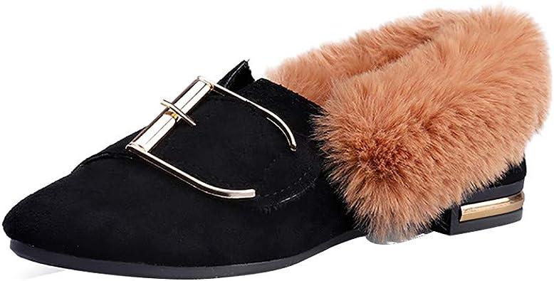 ALIKEEY Mujer Zapatos De Peluche Decoración De Metal Más Terciopelo Antideslizante Caliente Zapatos De Algodón ...