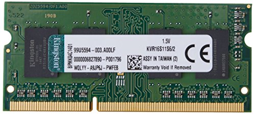 Kingston Technology ValueRAM 2GB 1600MHz DDR3 Non-ECC CL11 SODIMM SR X16 Notebook Memory KVR16S11S6/2 by Kingston Technology