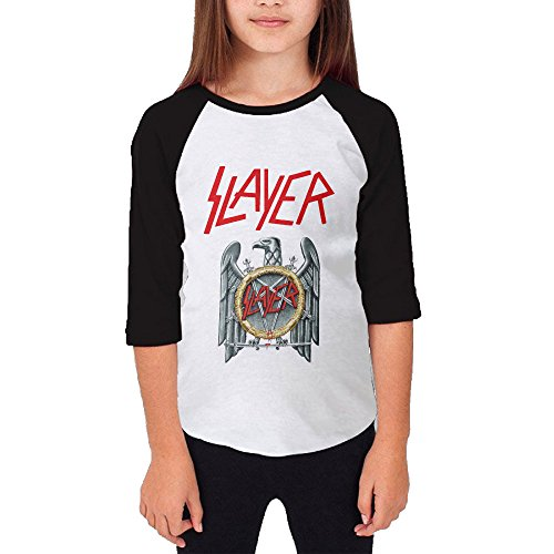 Price comparison product image Hotboy19 Youth Girls Slayerband Raglan 3/4 Sleeve T-Shirt Black Size XL