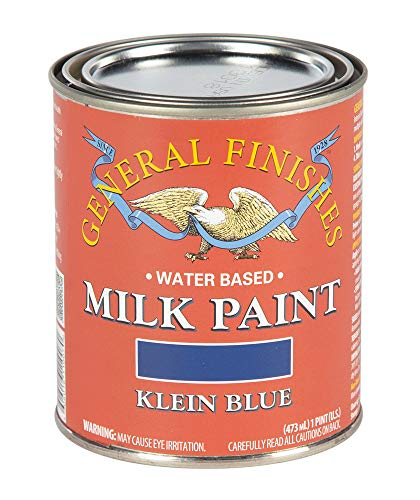 General Finishes PK Water Based Milk Paint, 1 Pint, Klein Blue