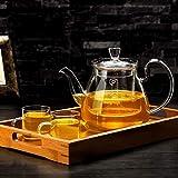Carl Artbay High Temperature Resistance ZS Tea Set Brew Tea Kettle Household Filter Liner Tea Set Tea Set 750ml (teapot +2  4 Cups + Tea Tray) (UnitCount : B) (Size : A)
