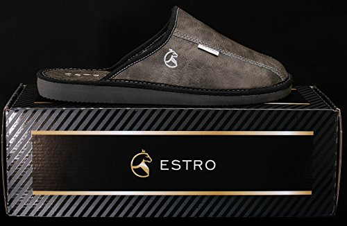 Estro Mens Slippers Men House Shoes Leather Home Mule Men's Slipper Memory Sole Rust Graphite jRpxcN