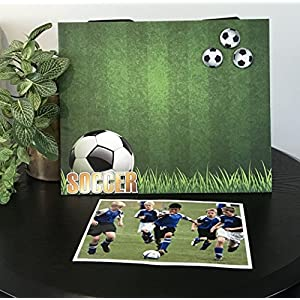 "Golden Soccer Field Sports team Player Coach mom dad gift custom handmade magnetic picture frame holds 5"" x 7"" photo 9"" x 11"" size"