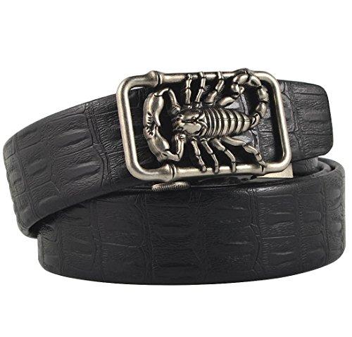 (Men's Alligator Embossed Microfiber Leather Ratchet Belt, Bronze Color Scorpion, Pant Sizes 43