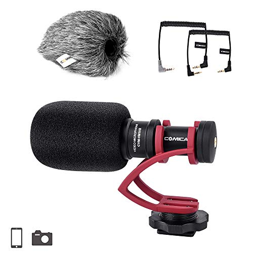 (Comica CVM-VM10II Full Metal Compact On Camera Cardioid Directional Mini Shotgun Video Microphone for Smartphone iPhone,Huawei,DJI Osmo,SonyA9/A7RII/A7RSII,GH4/ GH5, and DSLR Camera(Red))