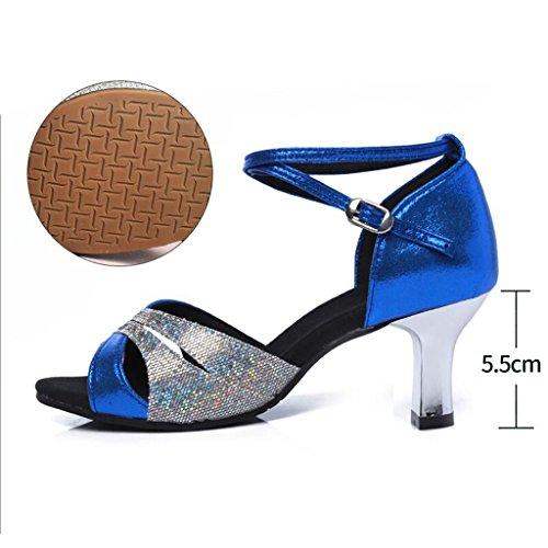 fondo ballo ballo Scarpe Ballroom con water Sandali Dance da estivi Donna da morbido 40 Blue latino Jingsen Scarpe Square Colore Blu dimensioni adulta qAx0Sqw