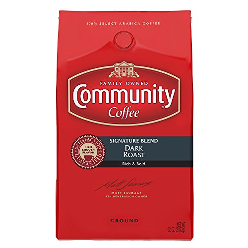 (Community Coffee Signature Blend Dark Roast Premium Ground 32 Oz Bag (2 Pack), Full Body Rich Bold Taste, 100% Select Arabica Coffee Beans)