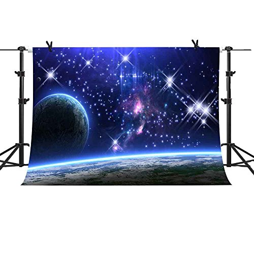 MME 10x7Ft Galaxy Backdrop Universe Backdrop Starry Sky Planet Background Earth Shinny Vinyl Cotton Photo Video Studio LXME358