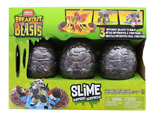 Mega Construx Breakout Beasts Slime - 3 Different Beasts - Green Set #1250936, Multi-Colored