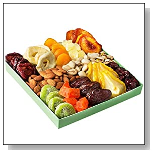 Holiday Nut and Dried Fruit Gift Basket, Healthy Gourmet Snack Christmas Food Box, Great for Birthday, Sympathy, Family Parties & Movie Night or as a Corporate Tray - Oh! Nuts?
