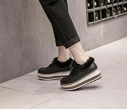 Lace Black Thick Round Shoes British Women Bottom Style 5cm Size Heel Toe Plush Platform 34 40 Eu Shoes Retro 3 Loose 5cm Casual Wedge up aSxwAqxd
