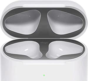 elago AirPods 2 Dust Guard (Matte Space Grey, 1 Set) Dust-Proof Metal Cover, Luxurious Finish, Watch Installation Video - Compatible with Apple AirPods 2 Wireless Charging Case [US Patent Registered]