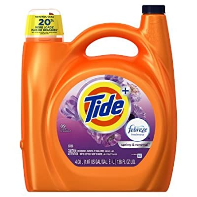 Tide Plus Febreze Freshness Spring and Renewal Scent Liquid Laundry Detergent 138 fl oz per bottle set of 3