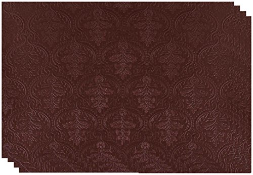 Dainty Home Venecia Faux Leather Placemat Set of 4, (Burgundy Place Spoon)