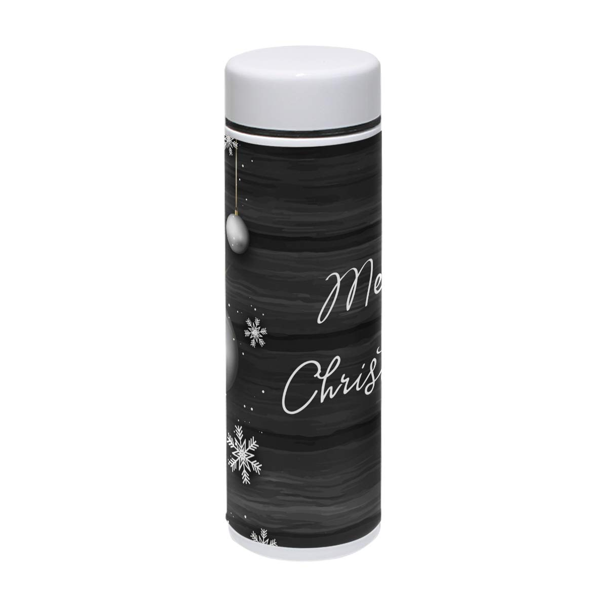 7.5 oz Water Bottle Christmas Baubles Wood Texture Drink Flasks Travel Mug Sports Thermos Stainless Steel PU Leather Double Wall Vacuum Insulated Cup Christmas Birthday Gift for Kids/Friends/Family