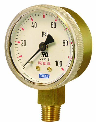 WIKA 8985029 Commercial Pressure Gauge, Dry-Filled, Copper Alloy Wetted Parts, 2
