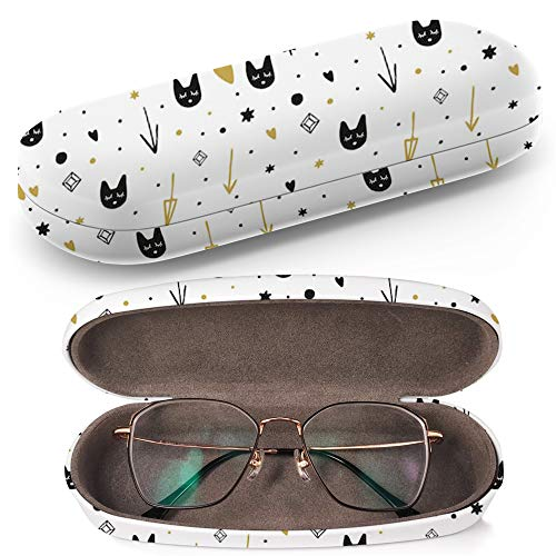 Hard Shell Glasses Protective Case Box + Cleaning Cloth - Fits most Eyeglasses and Sunglasses (Clip Art Funny ()