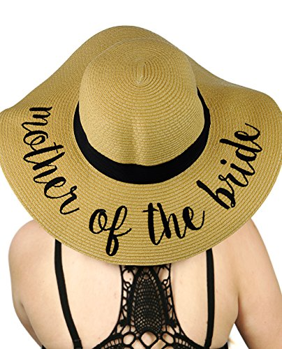 (C.C Women's Paper Weaved Crushable Beach Embroidered Quote Floppy Brim Sun Hat, Mother of The)