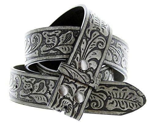 Floral Belt (Western Floral Embossed Leather Snap on Belt Strap (34,)