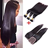 IUEENLY Hair Virgin Brazilian Hair 4x4 Lace Closure With 3 Bundles Straight Weave Remy Human Hair Natural Color (12 14 16+12''Closure)