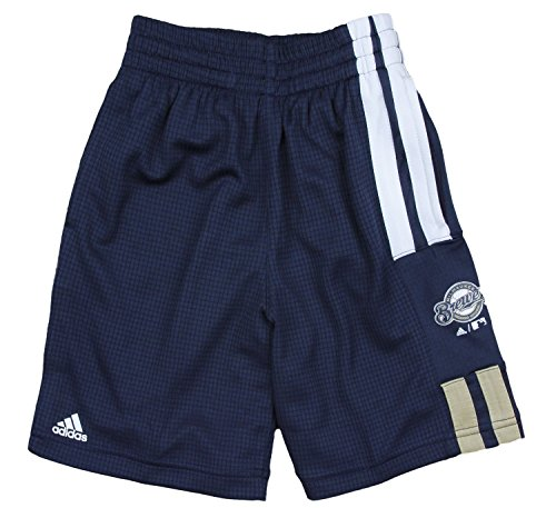 (adidas Milwaukee Brewers MLB Little Boys Pre-Game Shorts, Navy Blue)