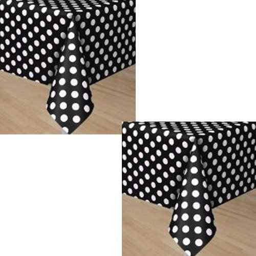 Black Polka Dots Party Plastic Tablecovers - 2 -