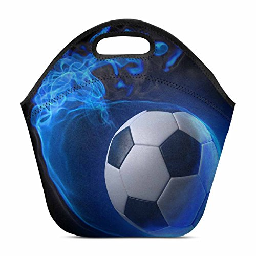 Design Lightweight Neoprene Lunch Bag Insulated Lunch Tote Bag Lunch box Custom Soccer Ball by InterestPrint