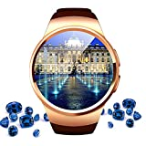 Heart Rate Monitor Bluetooth Smart Watch, Round Touch Screen Water Resistant Smartwatch Phone with SIM Card Slot,Sleep Monitor and Fitness Pedometer for IOS/Android Device QIWO