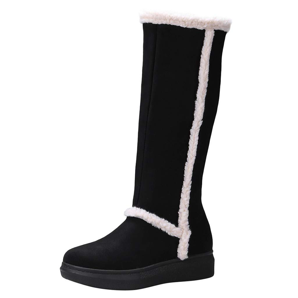 Dermanony Womens Winter High Boots Warm Plus Velet Snow Boots Casual Comfortable Plush Zipper Knee High Boots by Dermanony _Shoes