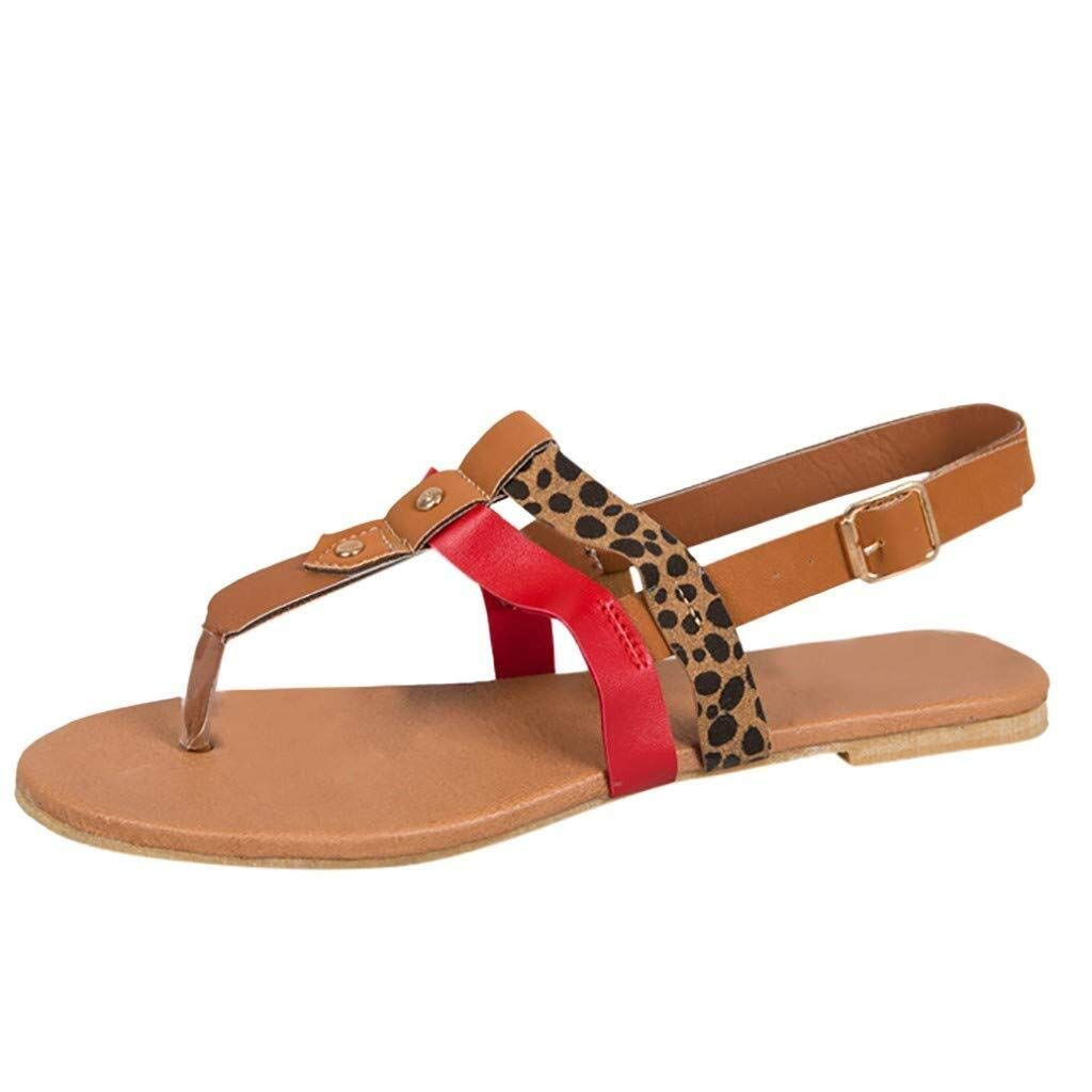 Hermia Women's Sandals Fashion Summer Casual Leopard Flat Sandals Open Toe Buckle Comfortable Beach Walk Shoes (Color : Brown, Size : 5.5 M US) by Hermia