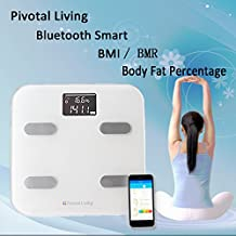 Pivotal Living Bluetooth High Precision Digital Wireless Backlit LCD Fat Scale Body Composition Measurements -Fat BMI and More Smartphone App for Health Tracking White