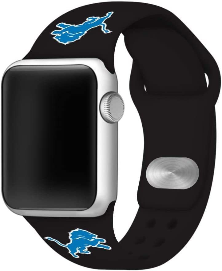 GAME TIME Detroit Lions Silicone Sport Watch Band Compatible with Apple Watch- 38/40mm (Black)