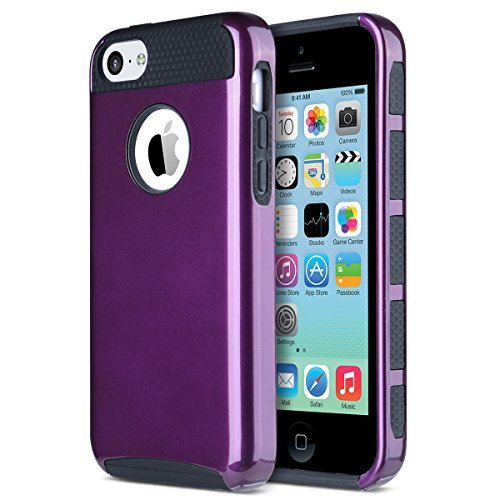 iPhone 5C Case, ULAK Slim Lightweight 2in1 iPhone 5C Cases Hybrid with Soft Rugged TPU Inner Skin and Hard PC Anti Scratches Protective Cover for Apple iPhone 5C-Purple+Black