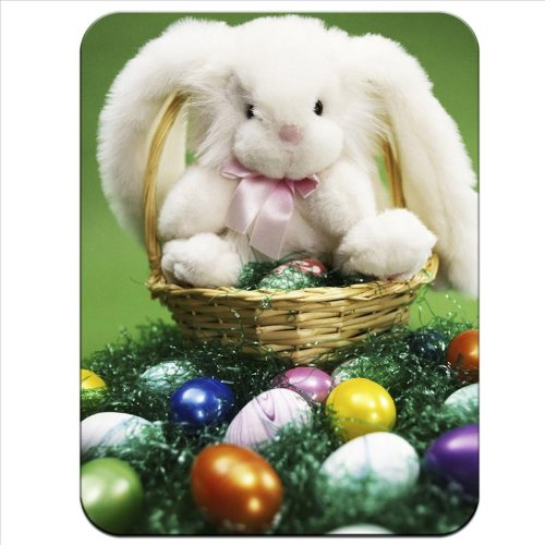 Fancy A Snuggle White Easter Bunny Sat On Easter Egg Basket Premium Quality Thick Rubber Mouse Mat Pad Soft Comfort Feel Finish