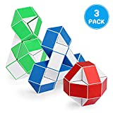 Ganowo 3PCS Large Size Fidget Snake Cube Twist Puzzle Magic Snake Sensory Toys Collection Brain Teaser Party Favors Game for Adhd Autism Kids Adults Teens