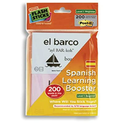 FlashSticks Booster Spanish Beginner Post-it Notes (200 Words): Office Products