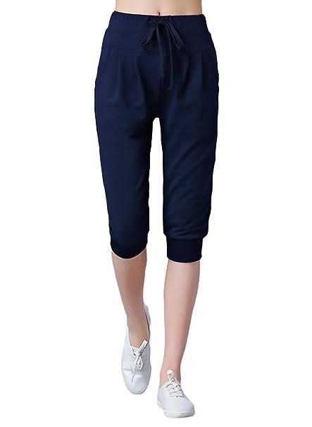Pantalon Pirata Mujer Mujer Primavera Otoño Pantalones De Jogging Elegantes Moda Vintage Color Sólido Niñas Ropa Cintura Alta con Cordón Pantalones De ...