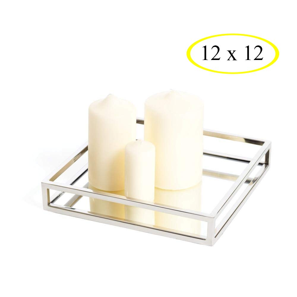 Elegant Mirrored Square Silver Tray, Mirrored Vanity Tray Ideal for Whiskey Decanter, Candle Sticks, Vanity Set, and Serving. 12 Inch Square.