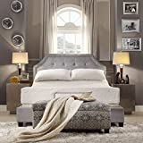 Grey Linen Button Tufted Arched Bridge Upholstered Platform Bed Includes Scented Candle Tart (full)