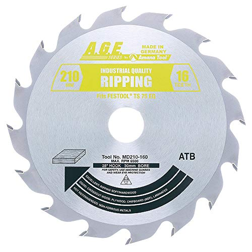 A.G.E. MD210-160 for Track Saw Machines, 210mm Dia x 16T ATB, 28 Deg, 30mm Bore, Carbide Tipped Ripping Circular Saw Blade ()