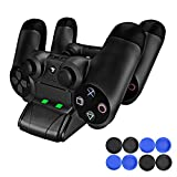 PECHAM PS4 Controller Charger, DualShock 4 Mini Charging Station Dock with LED Indicator - USB Cable & 8 Thumb Grips Accessories for Joysticks